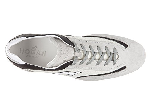 Hogan chaussures baskets sneakers homme en daim olympia slash h flock gris
