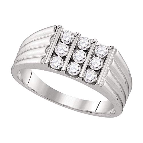 (FB Jewels 10kt White Gold Mens Round Diamond Triple Row Ribbed Wedding Band Ring 3/4 Cttw (I1-I2 clarity; H-I color))