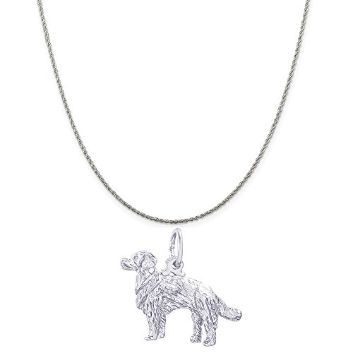 Rembrandt Charms Sterling Silver 3D Golden Retriever Charm on a Rope Chain Necklace, 16