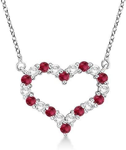 Collar con colgante de diamantes y rubíes redondos en oro blanco de 14 k, collar de diamantes en forma de corazón de oro macizo - corazón MEDIO. Joyería del Día de San Valentín