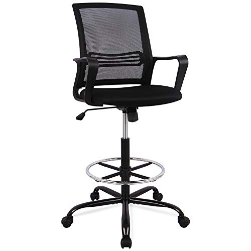 SMUGCHAIR Drafting Chair Tall Office Chair for Standing Desk Drafting Mesh Table Chair with Adjustable Armrest and Foot Ring (Chair Office Table)