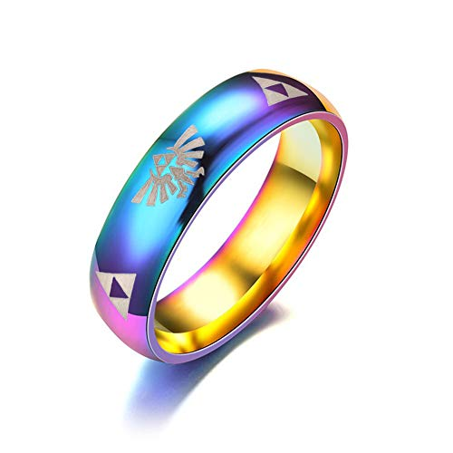 LMXXV Multicolored Rainbow High Polish Stainless Steel Legend of Zelda Design Dome Ring for Men Women,Size 9