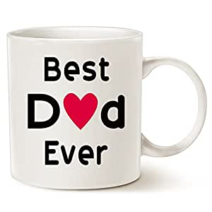 Fathers Day Christmas Gifts Best Dad Coffee Mug, Best Dad Ever Unique Christmas or Birthday Gifts Idea for Dad Father Papa Daddy Porcelain Cup White, 11 Oz