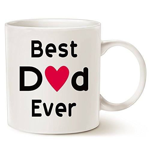 MAUAG Fathers Day Gifts Best Dad Coffee Mug, Best Dad Ever Unique Christmas or Birthday Gifts Idea for Dad Father Papa Daddy Cup White, 11 Oz]()
