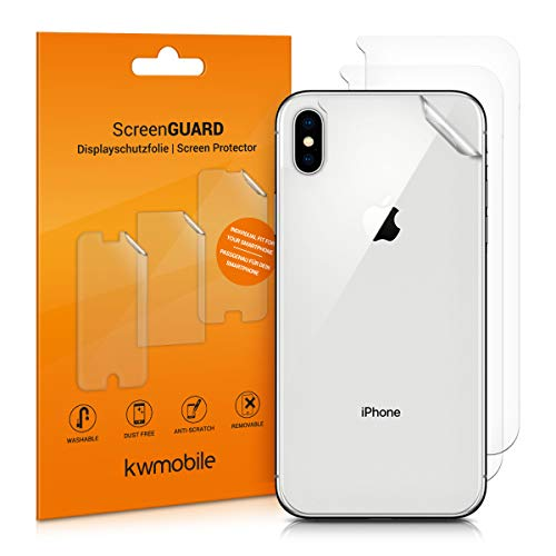 (kwmobile 3X Rear Protective Film for Apple iPhone Xs Max - Premium Quality)