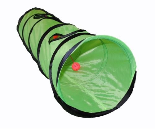 Cat Pet Toy Play Tunnel Four Exit Holes 4 Feet Long Green