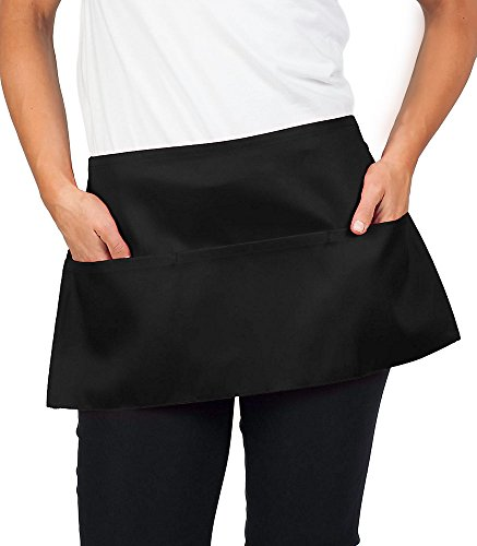KNG 6 Pack - Black Waist Apron, 11 inch by KNG