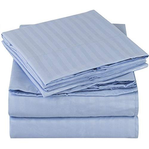 Mellanni Striped Bed Sheet Set - Brushed Microfiber 1800 Bedding - Wrinkle, Fade, Stain Resistant - 4 Piece (Queen, Light Blue)