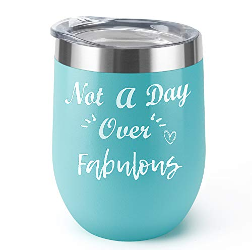 Not a Day Over Fabulous|Supkiir 12 oz Wine Tumbler, Blue Double Wall Vacuum Insulated Wine Glasses with Lid, Stainless Steel Cup for Wine,Coffee,Cocktails,Ice Cream|Perfect Birthday, Wedding, Christma