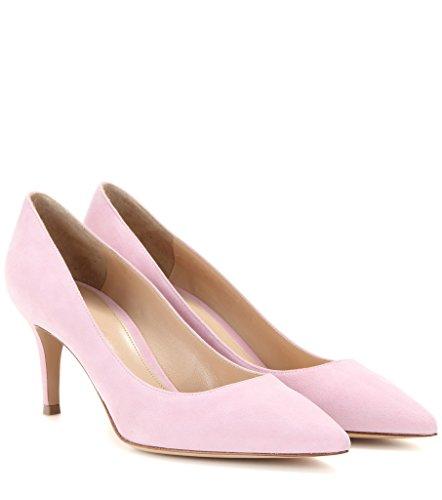Pink Pointed Damen Klassische 65mm Geschlossen Toe Pumps Pumps Partei Kitten Kleid Brautschuhe EDEFS Heels Büro afA6nY