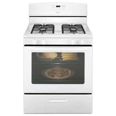 White Freestanding Gas Range (AMANA AGR5330BAW 30 inch 5.1 Cu. Ft. Single Oven Free-Standing Gas Range, White - 109024)