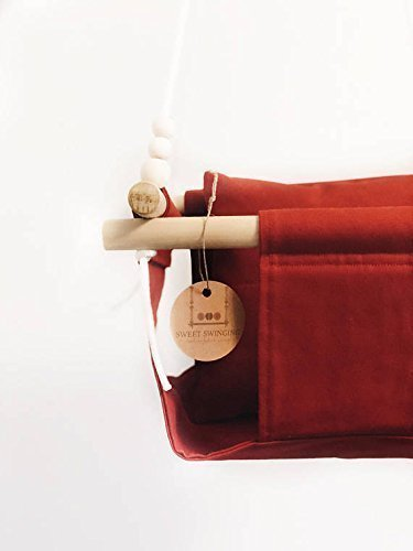Indoor/Outdoor Red Fabric Baby Swing