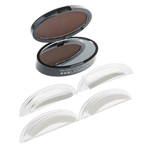 Dolity Maquillaje de Ceja en Polvo Natural y 2 Pares de Sellos para Plantillas de Cejas Naturales - Marrón claro