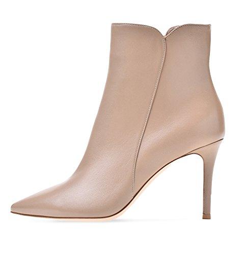 Womens Zip Dress Boots (Sammitop Women's Pointy Toe High Heels Ankle Boots Side Zip Dress Boots Nude US8)