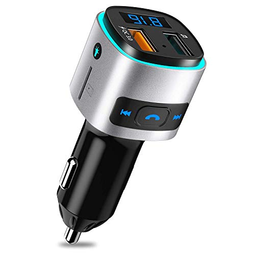 Bluetooth FM Transmitter for Car, SONRU Wireless Bluetooth V4.2 Radio Adapter Music Player Car Kit, Hands Free Calling, QC3.0 Quick Charge, Voltmeter, Color Light, Support TF Card, USB Disk ()