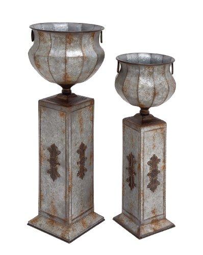 - Deco 79 Metal Pedestal Urn, 40 by 34-Inch, Set of 2