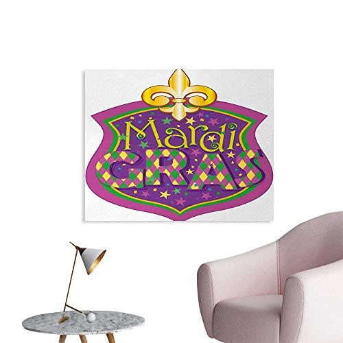 Tudouhoho Mardi Gras Funny Poster Blazon Design Festive Mardi Gras Inscription and Fleur de Lis Symbol Photographic Wallpaper Purple Yellow Green W36 xL32