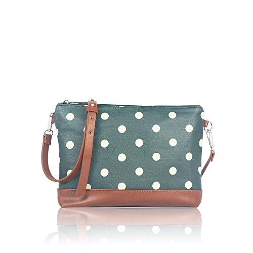 Fashion Messenger Cross Oilcloth Sling Polka Green Handbag Body Spotty Dot Bag Matte CzXaHnwBq