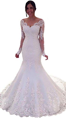 Miao Duo Women's Elegant Lace Bridal Gown Long Sleeve Mermaid Wedding Dress