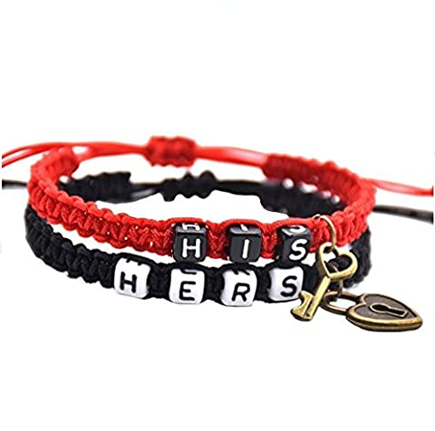 Couple Bracelets Braided Jewelry Key Lock Heart Love His and Hers Letter rope Womens Mens 2PCS JDXN (Key and (Love Jewelry For Men)