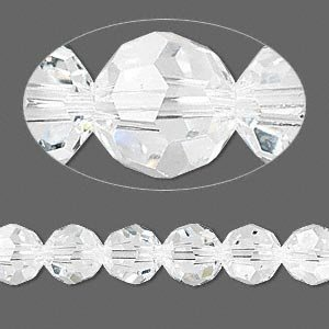 Swarovski Crystal 5000 8mm Clear Faceted Round Beads - 12 - Genuine 8mm Crystal