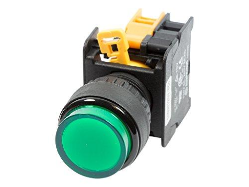 Alpinetech LXL-22 22mm 1NO Momentary Push Button Switch 24V AC DC LED Illuminated - Green Push Button Illuminated