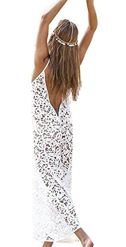 OnIn Athletic-two-piece-swimsuits Onin Women Sexy Crochet Hollow Lace Bikini Cover up,USLarge,White