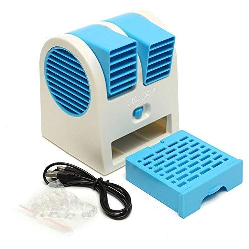 Nick's optimize Mini Fan & Portable Dual Bladeless Small Air Conditioner Water Air Cooler Powered by USB & Battery Use of Home/office/Car/garden/classroom (Multicolor)