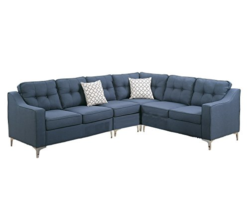 - Poundex PDEX-F6889 Sectional Set, Navy
