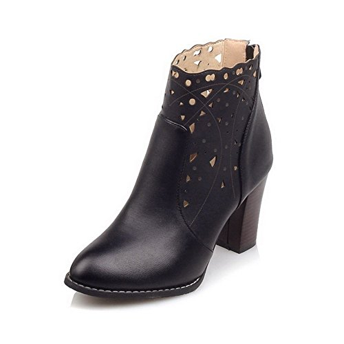PU Boots Closed High Women's Toe Solid Zipper Heels Pointed WeiPoot Black nFz0fxc