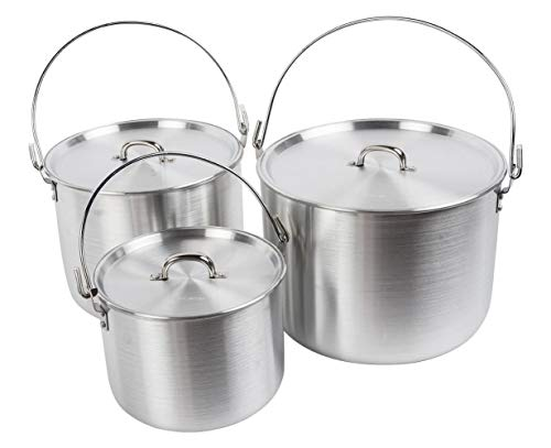 AceCamp Aluminum Cooking Pot, Camping Tribal Pot, Outdoor Picnic Cookware with Folding Handle, Durable Cook Kit for Dinner, Backpacking, Hiking - 4/8/12 L (3 Pot Set (4/8/12 L))