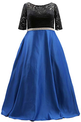 MACloth Half Sleeve Long Boat Neck Plus Size Prom Dress Lace Formal Evening Gown (US18w, Royal Blue - Intl)