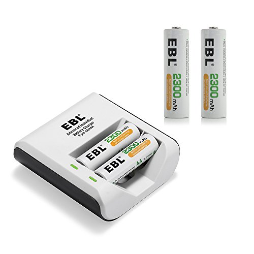 EBL 4 Pack 2300mAh High Capacity AA Rechargeable Batteries with 2 Bay Charger by EBL