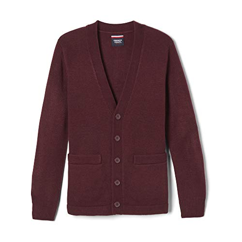 French Toast Boys' Little Anti-Pill V-Neck Cardigan Sweater, Burgundy, S ()