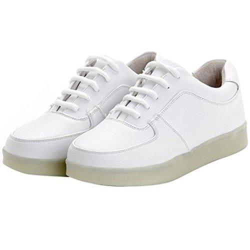 [Present:kleines Handtuch]JUNGLEST® 7 Farbe LED Leuchtend Sport Schuhe Sneaker USB Aufladen Turnschuhe für Unisex Herren Dame Weiß