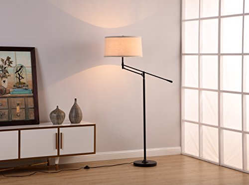 Brightech Ava LED Floor Lamp for Living Rooms - Standing Pole Light with Adjustable Arm - Office and Bedroom, Bright Reading Downlight with Drum Shade - Black by Brightech (Image #8)
