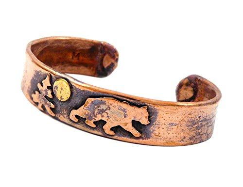 American Made Rustic Unisex Copper Cuff Bracelet - Bear, Medium Size (Adjustable 7