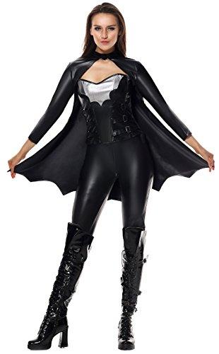 Lusiya Women's Sexy Bat Halloween Plus Size Costume Black Large/X-Large (Long Sleeve Plus Size Costume)
