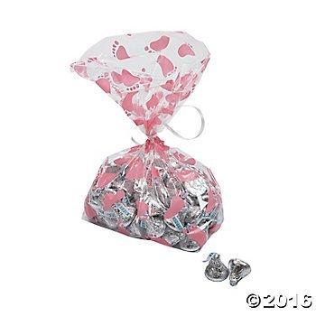 Pink Baby Girl Footprint Cellophane Bags - 12 pc ()