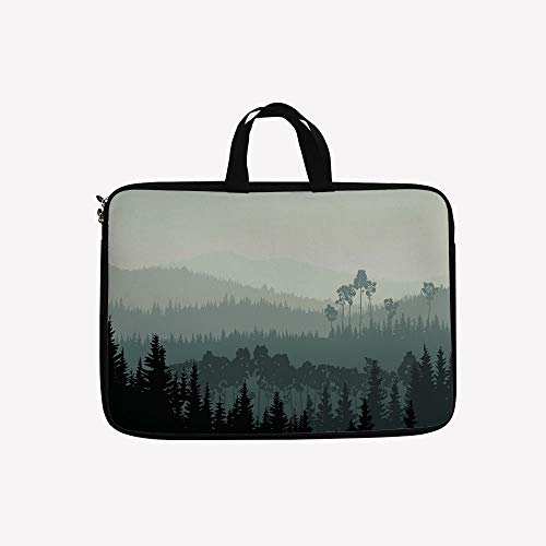 """3D Printed Double Zipper Laptop Bag,Valley and a Mystic Forest of Pine Trees,Egg Shell,10 inch Canvas Waterproof Laptop Shoulder Bag Compatible with 9.7""""10.1"""" 10.6""""inch Laptop."""