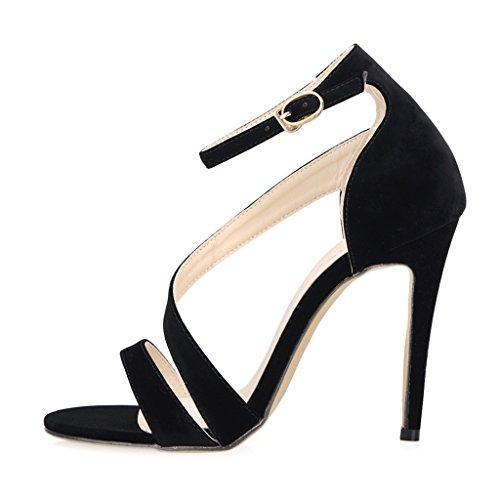 Größe Schwarz Heel 4 Toe Sandalen Peep Dünne UK Cuff Riemchen Damen Knöchelriemen Samt Damen High Schuhe xwqCOn7Sf
