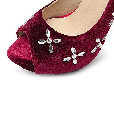 LvYuan Tacón Stiletto-Confort Tira en el Tobillo Zapatos del club-Sandalias-Boda Vestido Fiesta y Noche-Terciopelo-Negro Rojo Red
