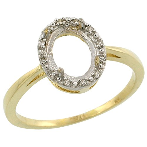 14k 6 Mm Mount (14K Yellow Gold Semi-Mount Ring ( 8x6 mm ) Oval Stone & 0.04 ct Diamond Accents, size 7)