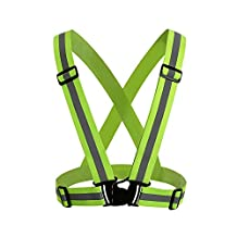 MeOkey High Visibility Reflective Adjustable Safety Vest Belt for Running, Walking, Cycling, Horse Riding, Motorcycle