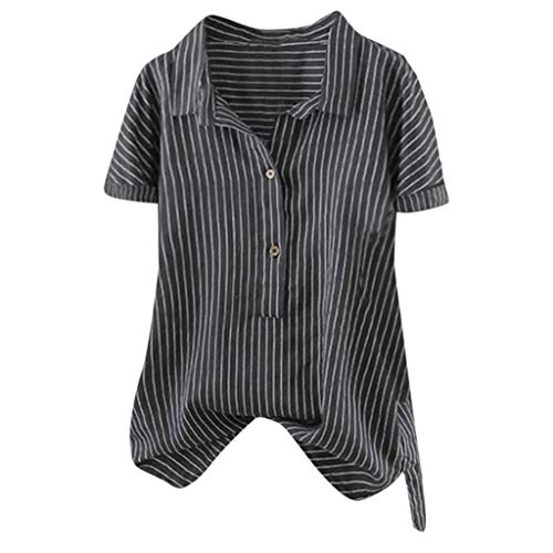 aihihe Womens Short Sleeve Shirts Plus Size V Neck Collared Button Down Fashion Stripes Shirt Summer Casual Tops(A Black,XXXXL)