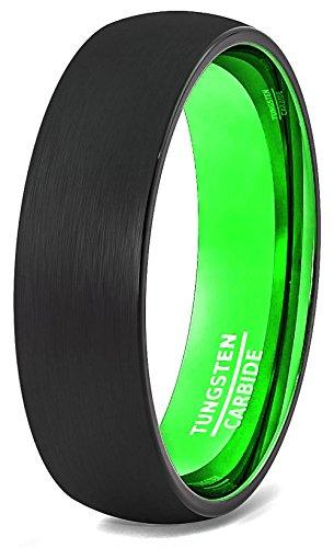 Mens Wedding Band 6mm Black Brushed Inside Acid Green Dome Comfort Fit