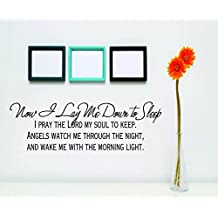 Now I Lay Me Down To Sleep Picture Art - Kids Baby Girls Boys Bedroom - Bedtime Bible Prayer - Peel & Stick Sticker - Vinyl Wall Decal - Size : 14 Inches X 34 Inches - 22 Colors Available
