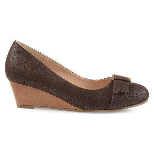 Brinley Co. Womens Gael Faux Suede Buckle Detail Comfort-Sole Wedges Brown, 8 Regular US