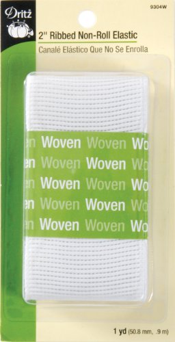 "Dritz Ribbed Non-Roll Elastic, 2"" by 1 yd, White"