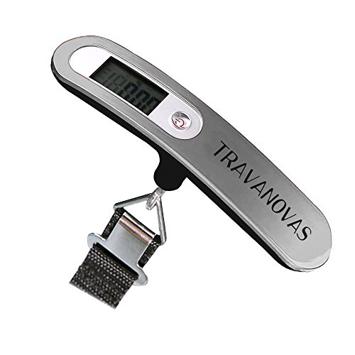 Travanovas Portable Digital Compact Luggage Traveling Scale with 110 lb Capacity, Silver (Halloween Props Clearance Uk)
